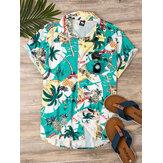 Chemises décontractées respirantes à manches courtes d'impression de style tropical pour hommes