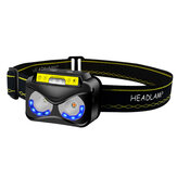 XANES® K190 XPG+COB 300LM Headlamp 6 Speed Adjustable Induction Control Waterproof USB Rechargeable Flashlight Head Lamp for Camping Fishing Cycling