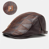 Collrown Men Faux Leather Stripe Modello Cappello berretto vintage tinta unita in avanti