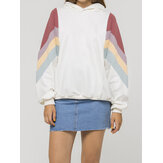 Women Side Patchwork Chevron White Long Sleeve Casual Hoodies
