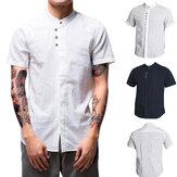 T-shirt uomo in lino sciolto collo senza maniche traspirante manica corta Sport Idoneità escursionismo TORCIA Top