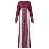 Yeni Müslüman Kadın Robe Dantela Patchwork Uzun Kollu Elbiseler