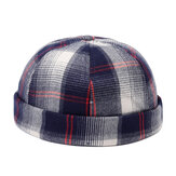 Mens Womens Baumwolle Plaid Französisch Brimless Hut Skullcap Sailo