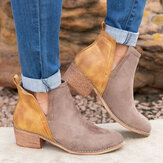 Women Large Size Splicing Colorblock Slip On Chunky Heel Short Boots