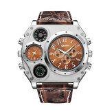 Relógio de quartzo criativo OULM 1349 com fuso horário duplo Relógio grande mostrador estilo militar
