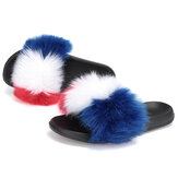 Womens Fur Plush Fuzzy Furry Sliders Slippers Sandals Flip Flops Flat Shoes