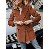 Women Corduroy Double Breasted Lapel Casual Long Sleeve Blazers With Pocket