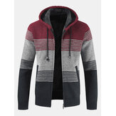 Mens Thick Velvet Casual Thermal Knitting Cardigans Hooded Color Matching Jacket