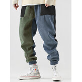 Mens Patchwork Corduroy Drawstring Casual Jogger Pants With Pocket