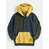 Mens Corduroy Patchwork Half Button Kangaroo Pocket Drawstring Hoodies
