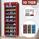 10 Tiers Shoe Rack Home Wall Wall Closet Shoe Storage Cabinet Organizer with Dustproof Cover
