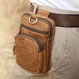 Erkek Hakiki Deri Çok Cepli Kemer Çanta Retro 6.5 İnç Telefon Çanta Bel Çanta İle Çengel