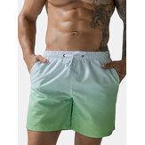 Mens Gradient Quick Dry Pocket Drawstring Board Shorts For Swimming