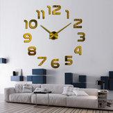 3DБезрамнаястенаЧасыСовременнаяобложка большого зеркала DIY Room Home Office Decorations