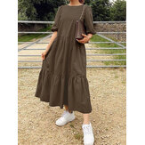 Women Solid Color Tiered Round Neck Half Sleeve Simple Ruffle Maxi Dresses