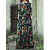Ретро Женское Цветочный принт с длинным рукавом Круглый вырез Длина до пола Платье