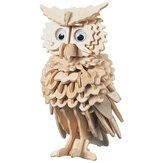 3D פאזל ינשוף מעץ פאזל ילדים ילדים צעצוע לפני חיתוך עץ צורות דגם
