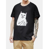 Cotton Cat Cartoon Pattern Round Neck Short Sleeve Loose T-Shirts