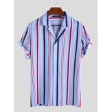 Men Vertical Stripe Short Sleeve Relaxed Shirts