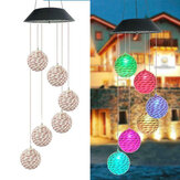 LED Light Solar Light Wind Chime Color Changing Garden Rattan Ball