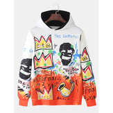 Mens Graffiti Letter Printing Relaxed Fit Kangaroo Pocket Hoodies
