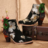 SOCOFY Green Flower Genuine Leather Splicing Zipper Elegant High Heel Ankle Boots