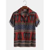 Camicie casual da uomo colletto rovesciato stampa etnica divertente Modello