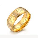 5mm ze stali nierdzewnej słowa muzułmańskie Islam złoty pierścień akcesoria modlitewne biżuteria