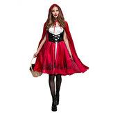 Halloween Mujer Caperucita Roja Traje Mujer Color Sólido Fiesta Cosplay Vestido Disfraces Juguete