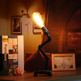 Vintage Industrial Steampunk Rustic Style Iron Metal Pipe Desk Table Lamp Light