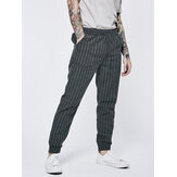 Summer Men's Vintage Drawstring Skinny Trousers Cotton Linen Long Harem Pants US