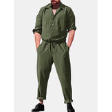 Men Casual Romper Long Sleeve Jumpsuit Stand Collar Military Overalls Cargo Pant