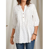 100% Cotton Stand Collar Solid Patchwork Pleated Casual Blouse For Women
