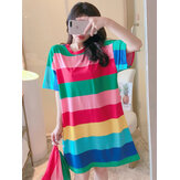 Women Colorful Striped Nightdress Oversize Short Sleeve Comfy Pajamas