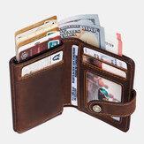 Мужчины Натуральная Кожа Ретро RFID Антимагнитные многофункциональные зажимы для денег Короткий кошелек Кошелек