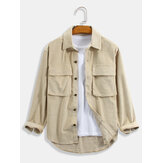 Mens Corduroy Solid Color Relaxed Fit Long Sleeve Shirts With Flap Pockets