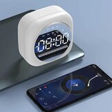 Wireless USB Bluetooth 5.0 LED Altoparlante per sveglia a specchio TF FM Radio Orologio Snooze digitale Orologio da tavolo Wake Up Phone Holder Electronic Large Time Display Home Decoran Clock