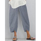 Bolsillo lateral con dobladillo irregular y cintura elástica a rayas sueltas Pantalones para Mujer