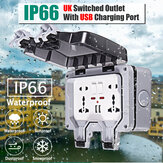 IP66 Weatherproof Outdoor BOX Wall Socket 13A Double Universal / UK Switched Outlet With USB Charging Port