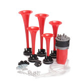 5pcs 178DB 12V Compressore Air Horn Kit Rosso Trombe Dukes Car Truck