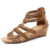 MulheresPeepToeSandáliasCasualComfort Zipper Shoes
