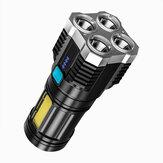 XANES® S3 4*LED+COB Ultra Parlak LED El Feneri, Sidelight ile 4 Mod Ayarlanabilir USB Şarj Edilebilir Güçlü Spot Su Geçirmez Çalışma Işığı