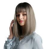 Kadın için sentetik Peruk Siyah Ombre Gri Bordo Sarışın Gümüş Kahverengi Afro-Amerikan Yaki Striaght Bob Peruk