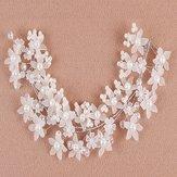 Bride Flower Kunstig Pearl Headpiece Brude Bryllup Hovedbrand Hår Tilbehør