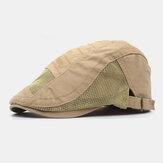 Męskie bawełniane haftowane litery Mesh Oddychający regulowany płaski kapelusz Beret Hat Forward Hat