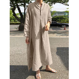 Women Casual V-neck Button Split Plus Size Cotton Maxi Shirt Dress