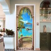 Etiquetadelapareddela puerta del arco del balcón del mar 3D autoadhesiva Mural de la foto de la pared