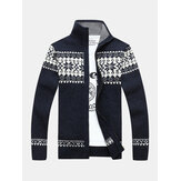 Mens Tribal Print Long Sleeve Vintage Long Sleeve Knitting Sweater Jacket