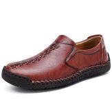 Erkekler El Dikiş Inek Derisi Deri Kaymaz Soft Sole Iş Rahat Ayakkabılar