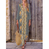 Bohemian Women V Neck Floral Print Praia Holiday Split Maxi Dress